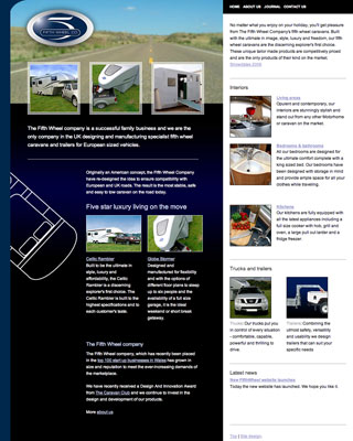 Fifth Wheel Company, a site that I designed in December